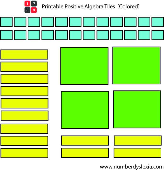 Free Printable Colored Algebra Tiles Template Pdf Number Dyslexia