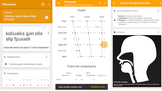 Phonemes - IPA Chart, transcription and pronunciation apps for phonemica awareness