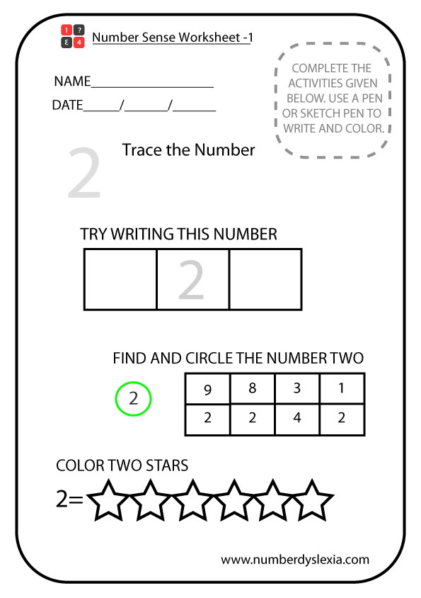 Free Printable Number Sense Worksheets For Kindergarten [PDF] - Number  Dyslexia