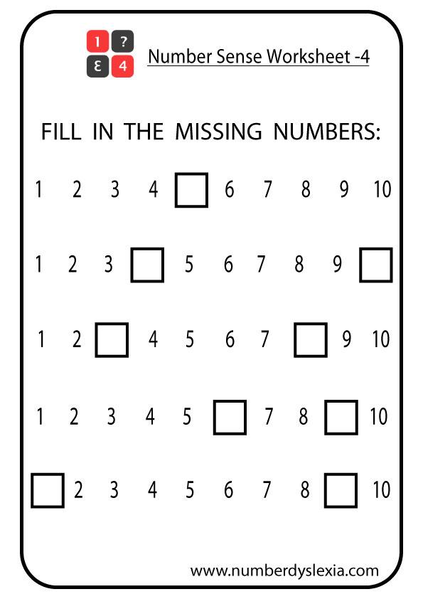 Free Printable Number Sense Worksheets For Kindergarten Pdf Number Dyslexia