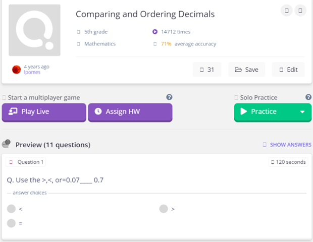 Comparing and Ordering Decimals Ordering Decimals game