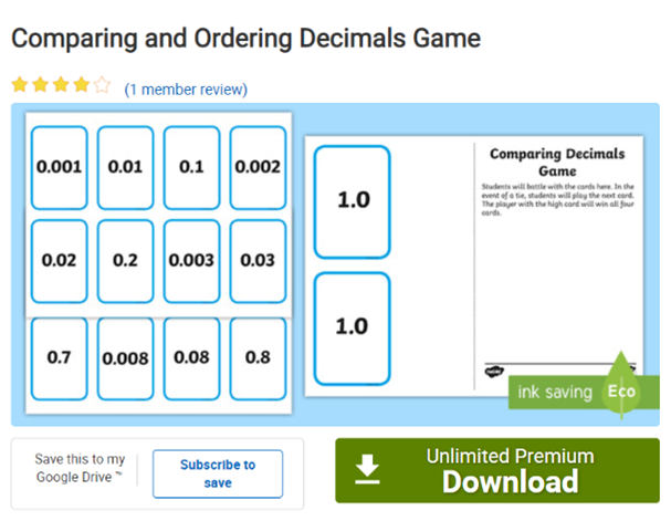 Comparing and Ordering Decimals Game decimals oredering game