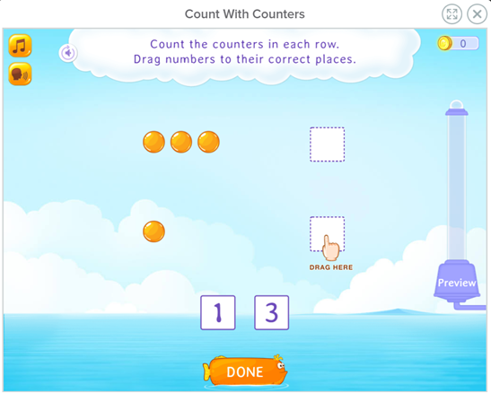 Counting with counters game for kindergarten math games for building early math skills