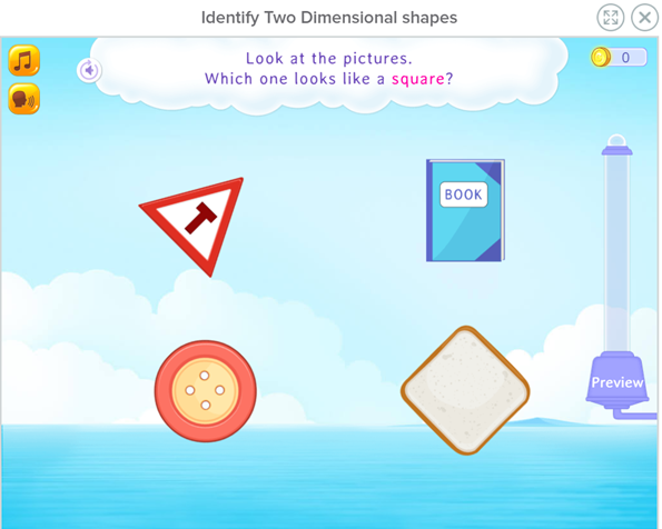 Identify two-dimensional shapes  for kindergarten math games for building early math skills