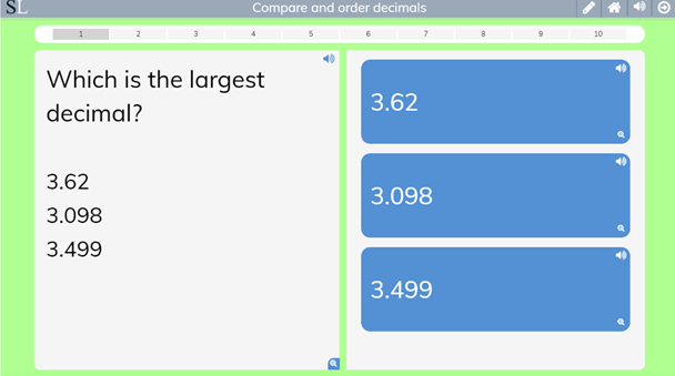 Compare and Order Decimals decimals oredering game