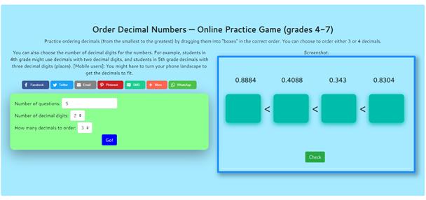 Order Decimal Numbers – Online Practice Game ( Grade 4-7) decimals oredering game