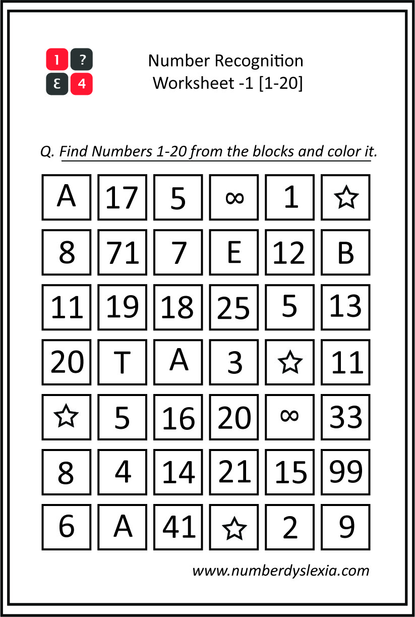 Free Printable Number Recognition Worksheet (1-20) - 1 [PDF]