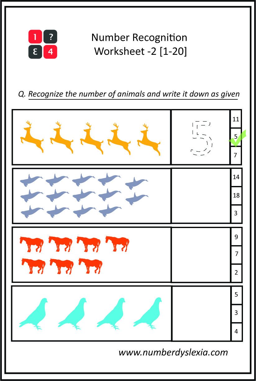 Free Printable Number Recognition Worksheets 1 20 Pdf Number Dyslexia