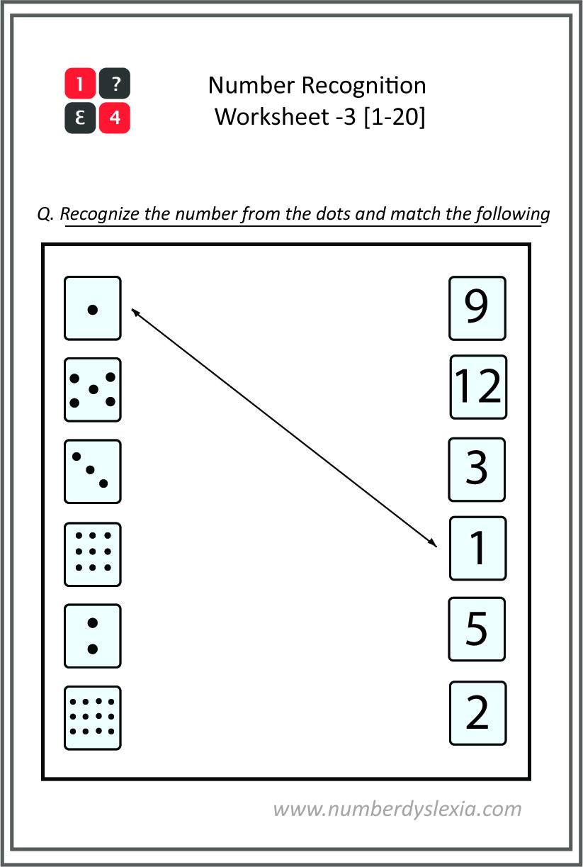 Free Printable Number Recognition Worksheet(1-20) - 3 [PDF]