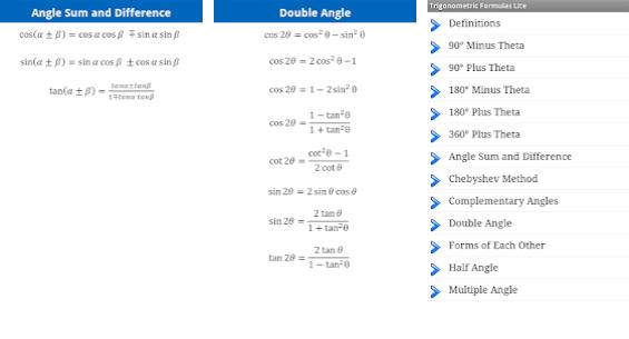 trigonomtery formulas app for learning trigonometry