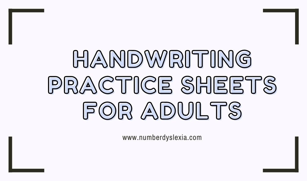 Free Printable Handwriting Practice Worksheets For Adults [PDF] - Number  Dyslexia