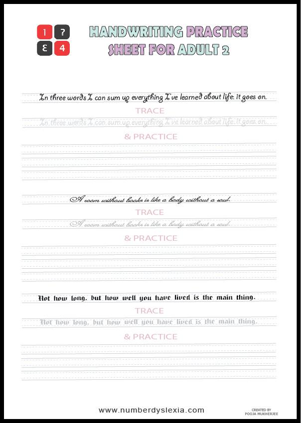 Free Printable Handwriting Practice worksheets for adult PDF 2
