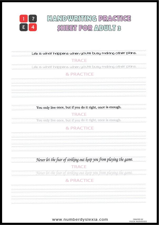 Free Printable Handwriting Practice worksheets for adult PDF 3