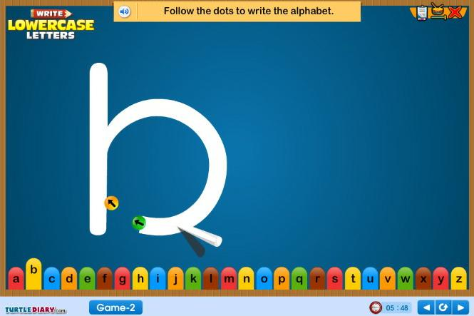 Write Lowercase Letters - Alphabet Game