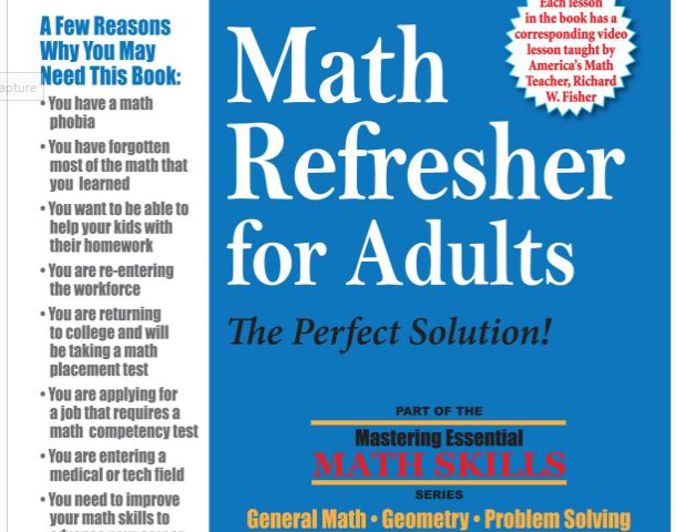 Math refresher course for adults