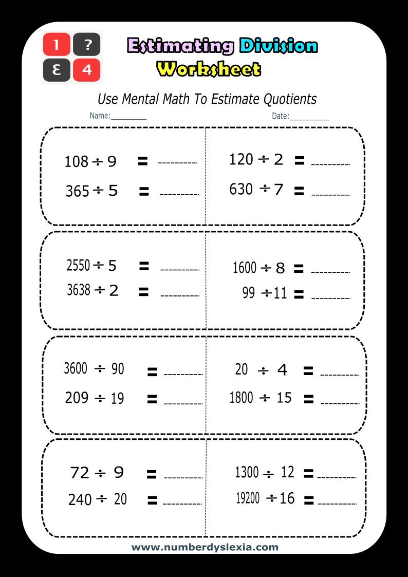 Free Printable Estimating Division worksheet 4 [PDF]