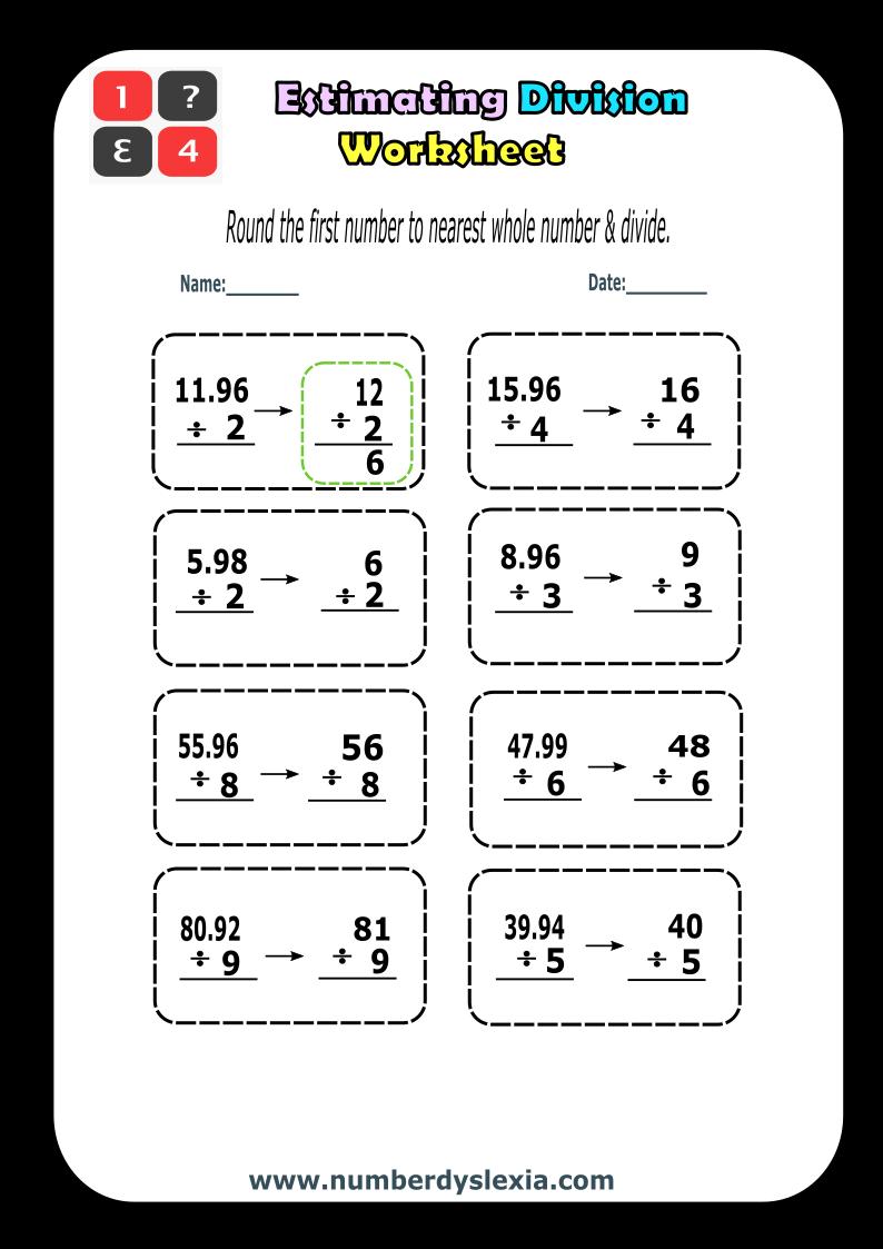 Free Printable Estimating Division worksheet 1 [PDF]