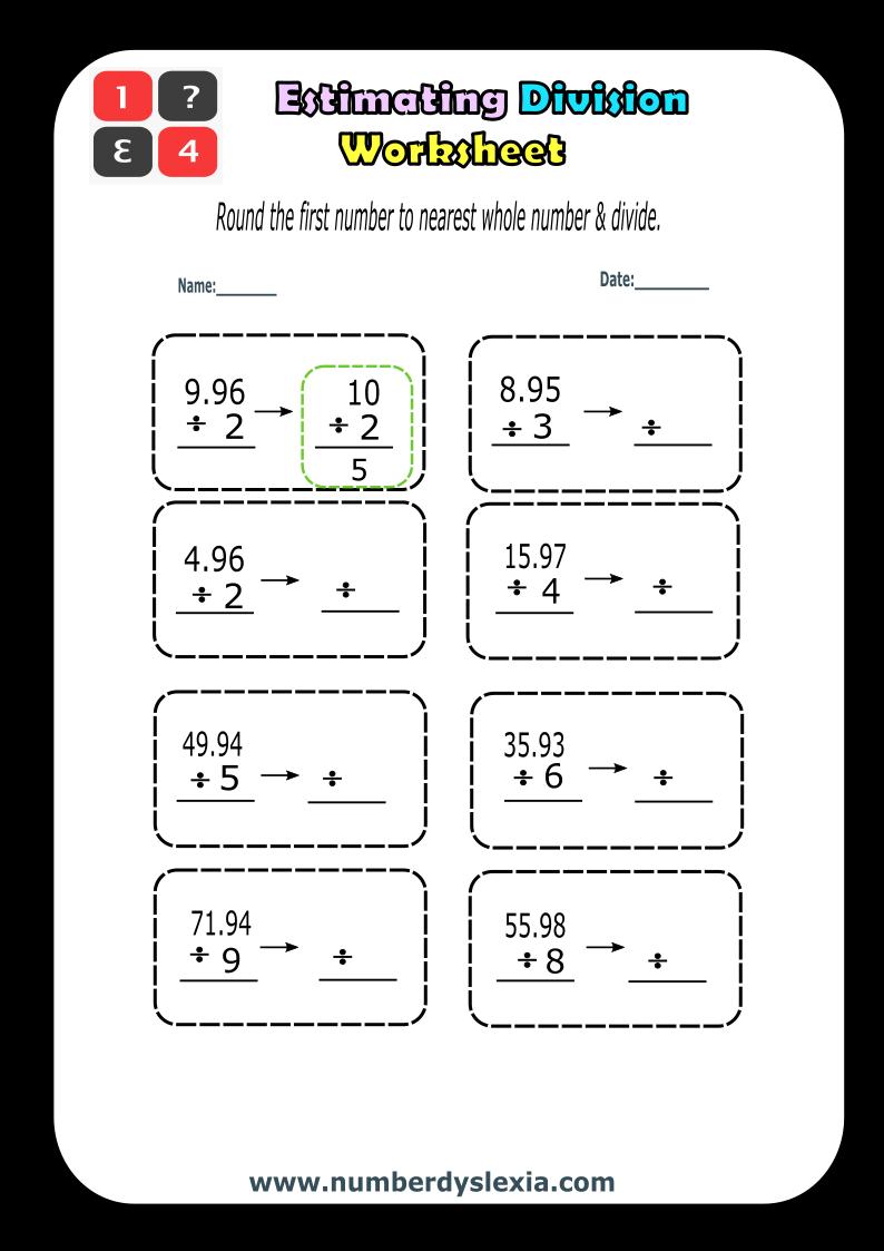 Free Printable Estimating Division worksheet 2 [PDF]