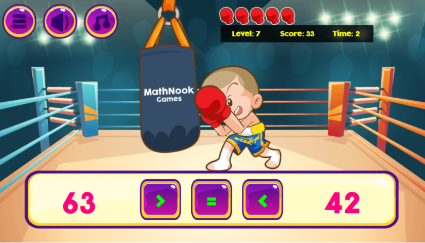 Math Boxing Comparison Games