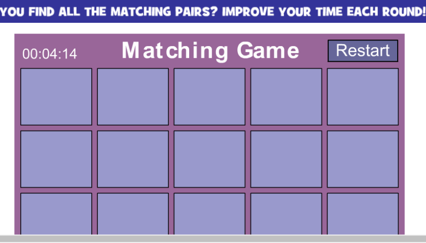 Matching Cards Percentage Game