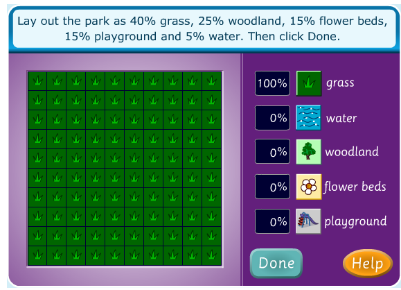 Percentage Game - Dividing space into different elements