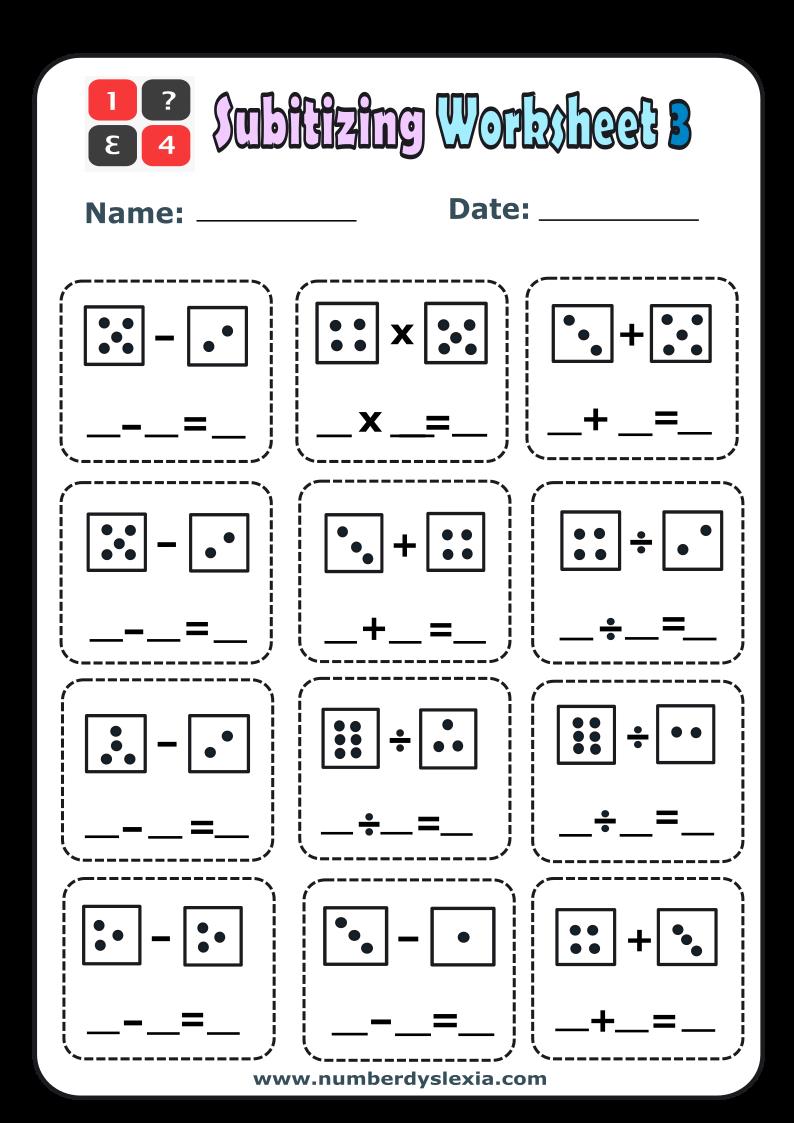 Free PrinDtable Subitizing Worksheet 3 PDF