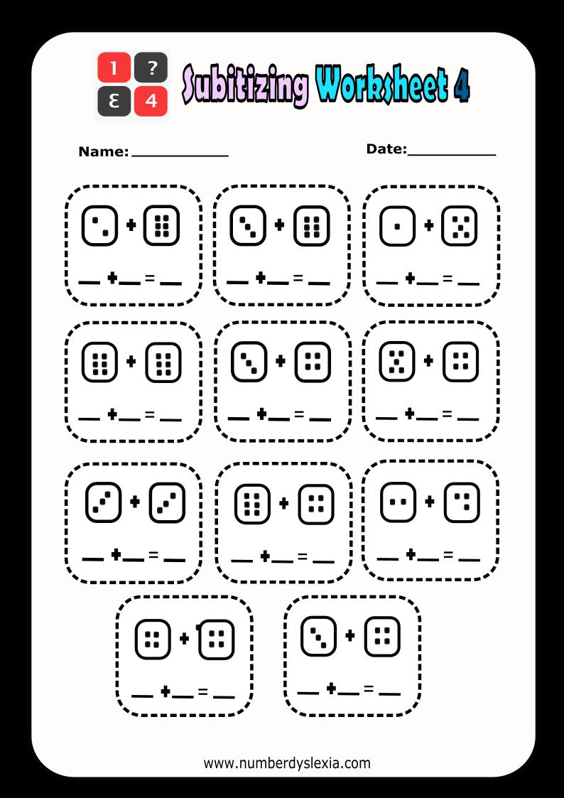 Free Printable Subitizing Worksheet 4 PDF