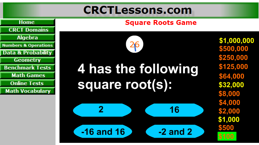 Who wants to win one million dollar - Square root game