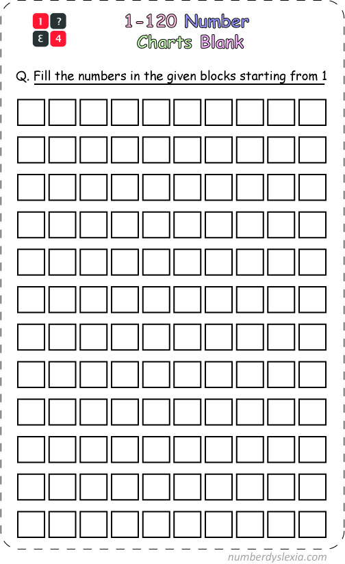 Free Printable 1-120 Number Chart [PDF] Blank Template