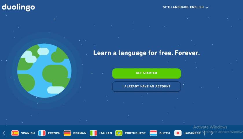 duolingo website screenshot