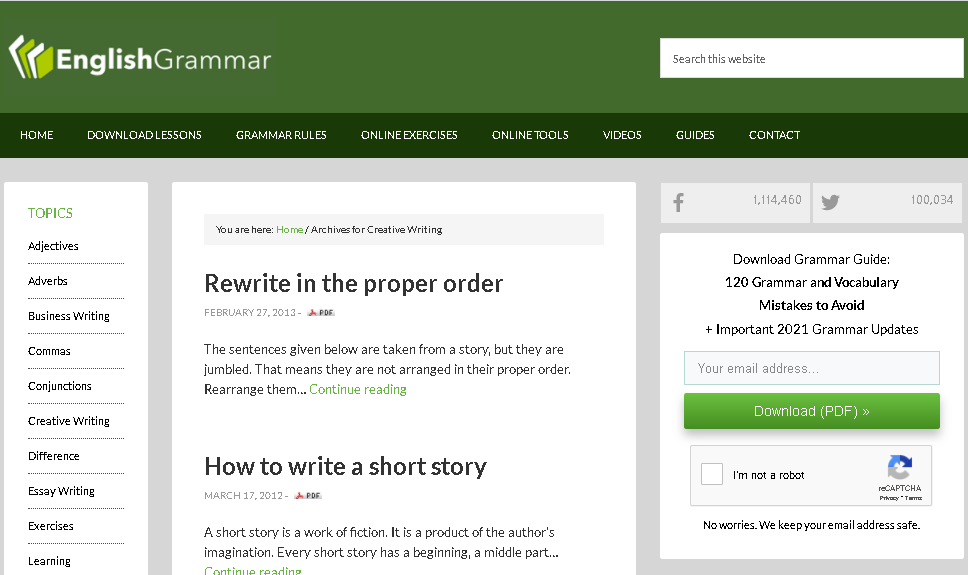 english grammar website