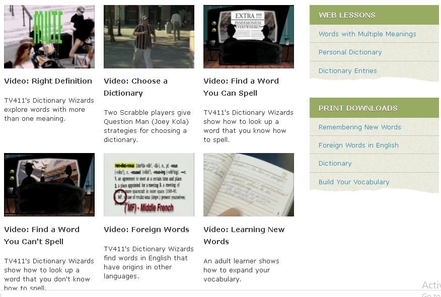 tv411 website vocabulary platform