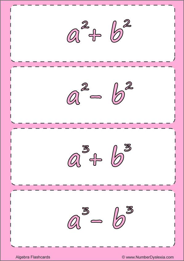 Free Printable Algebra Flashcards For Practice [PDF]