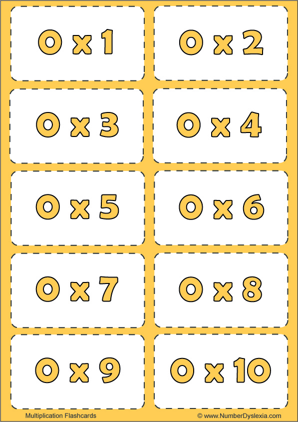 Free Printable Multiplication Flashcards Table 0 with pdf
