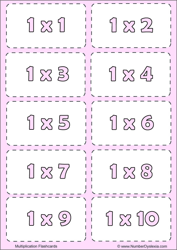 Free Printable Multiplication Flashcards Table 1 with pdf