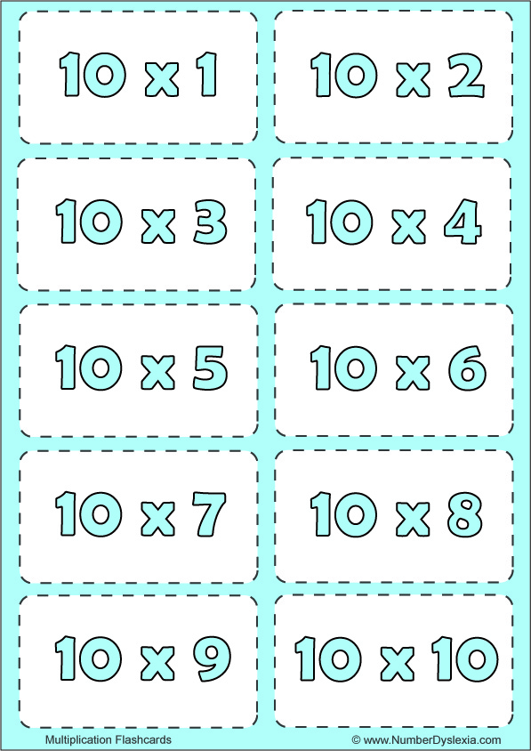 Free Printable Multiplication Flashcards Table 10 with pdf