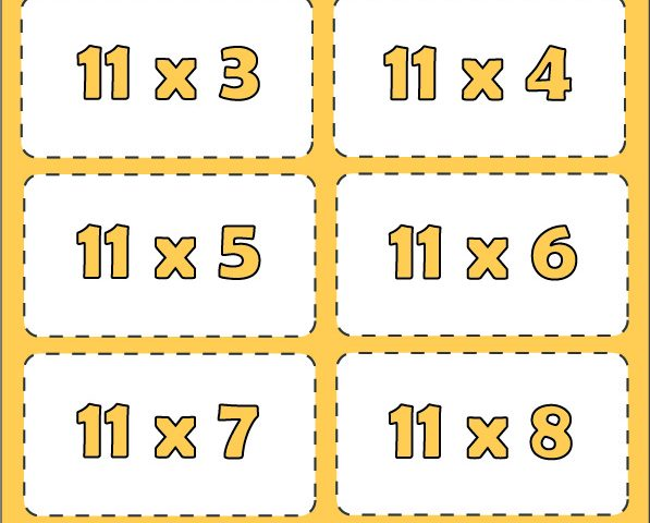 Free Printable Multiplication Flashcards Table 11 with pdf