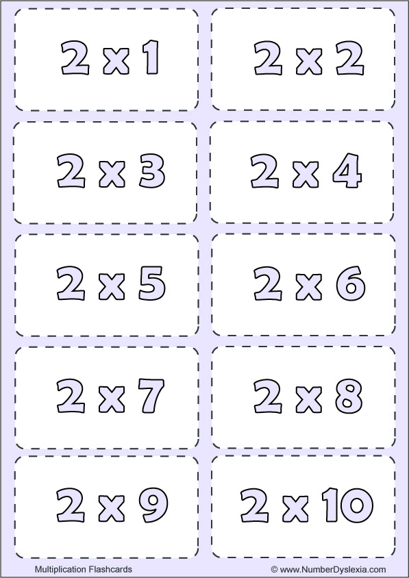 Free Printable Multiplication Flashcards Table 2 with pdf