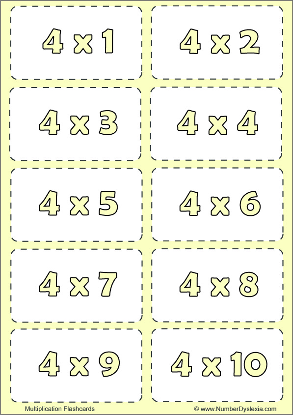 Free Printable Multiplication Flashcards Table 4 with pdf