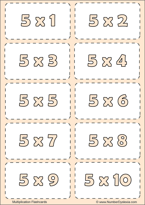 Free Printable Multiplication Flashcards Table 5 with pdf