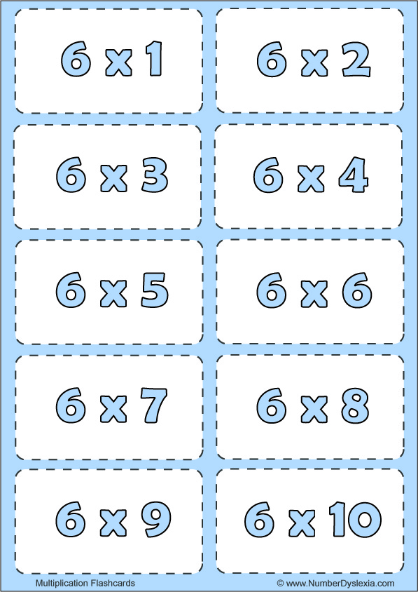 Free Printable Multiplication Flashcards Table 6 with pdf