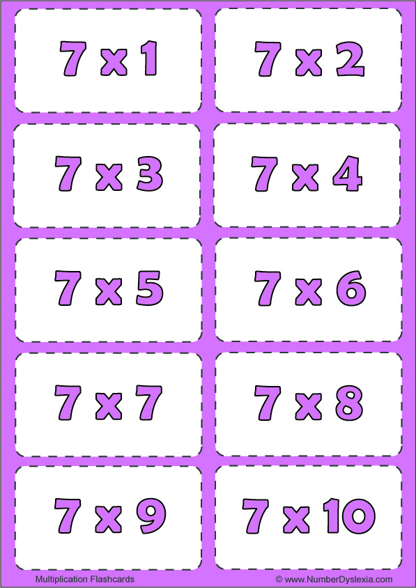 Free Printable Multiplication Flashcards Table 7 with pdf