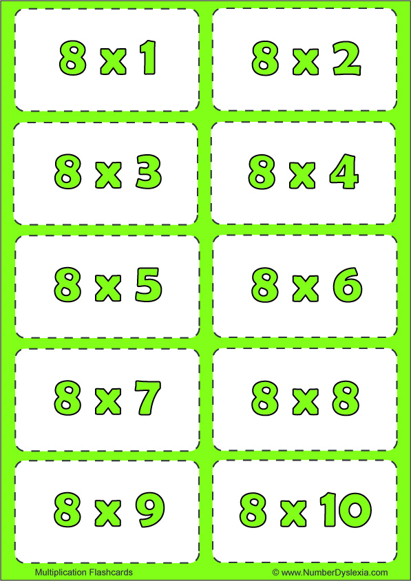 Free Printable Multiplication Flashcards Table  8 with pdf