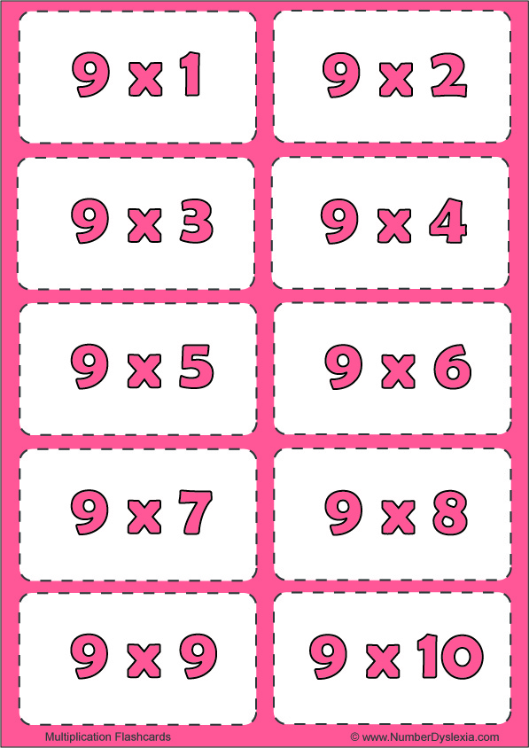Free Printable Multiplication Flashcards Table 9 with pdf