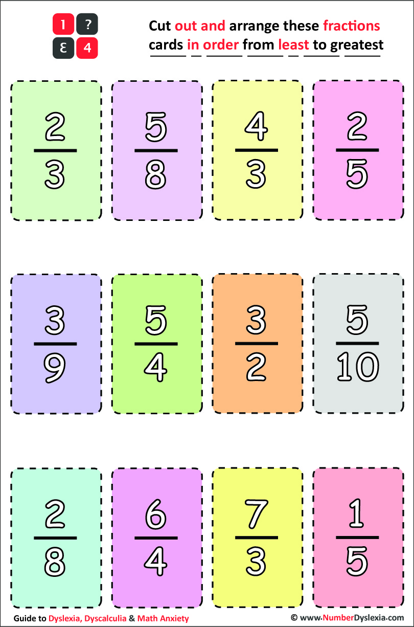 Free Printable Ordering Fractions From Least to Greatest Worksheets [PDF]
