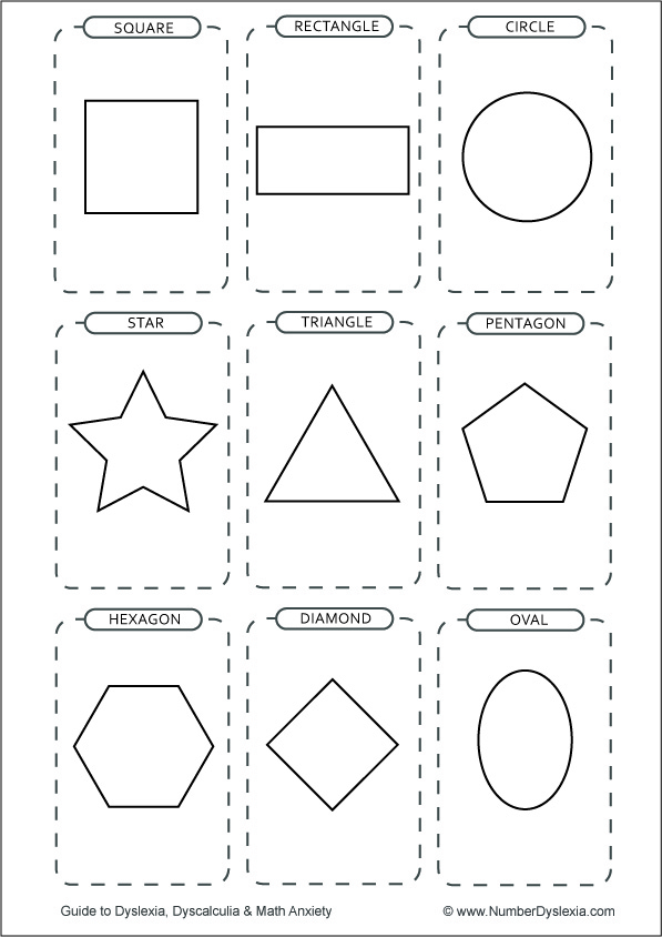 Free Printable Shapes Flashcards [PDF] black and white with words