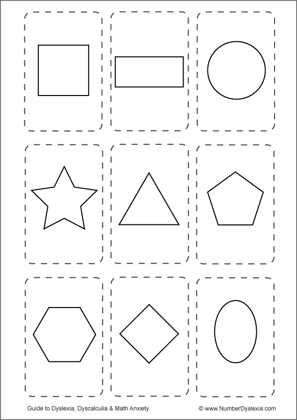 Free Printable Shapes Flashcards [PDF] black and white without words