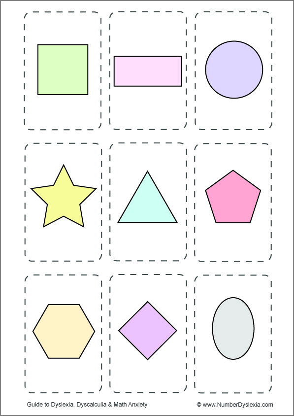 Free Printable Shapes Flashcards [PDF] colored without words
