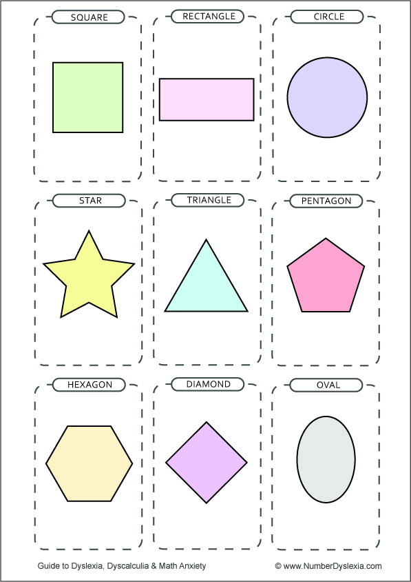 Free Printable Shapes Flashcards [PDF] colroed with words