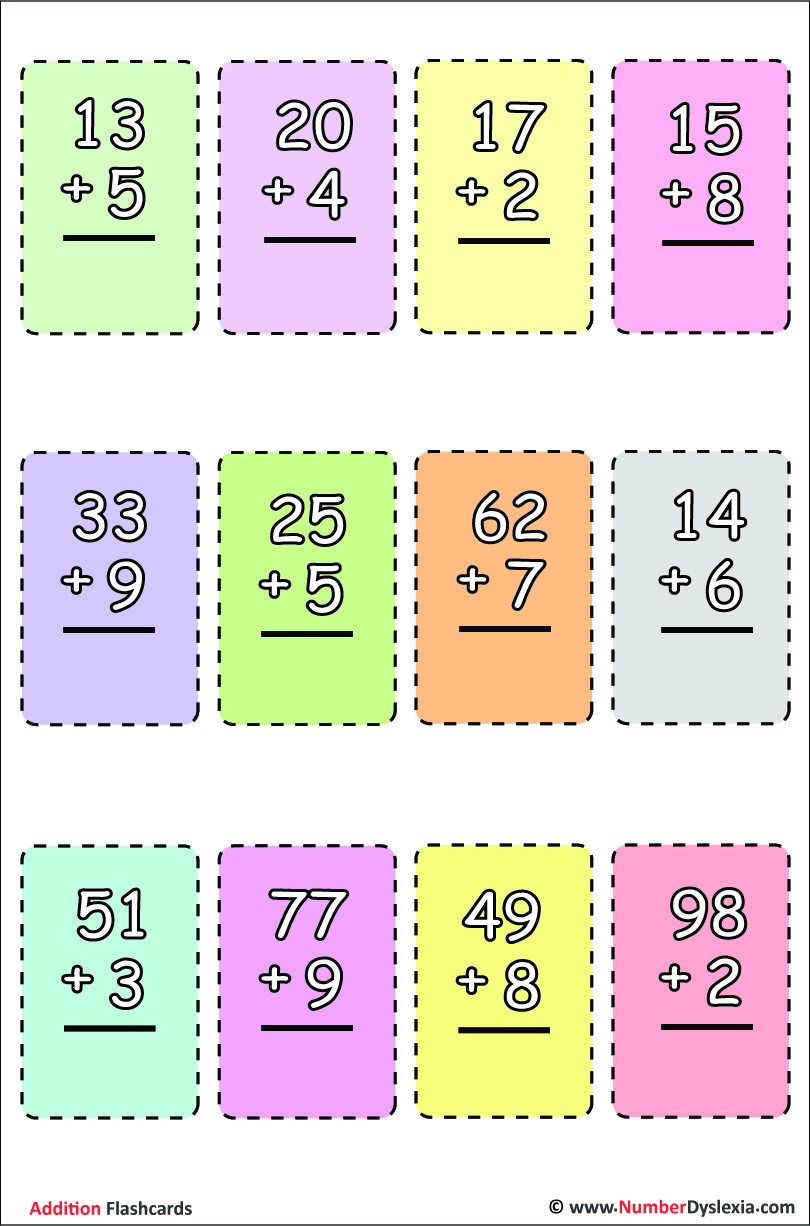 Printable addition flashcards with free pdf